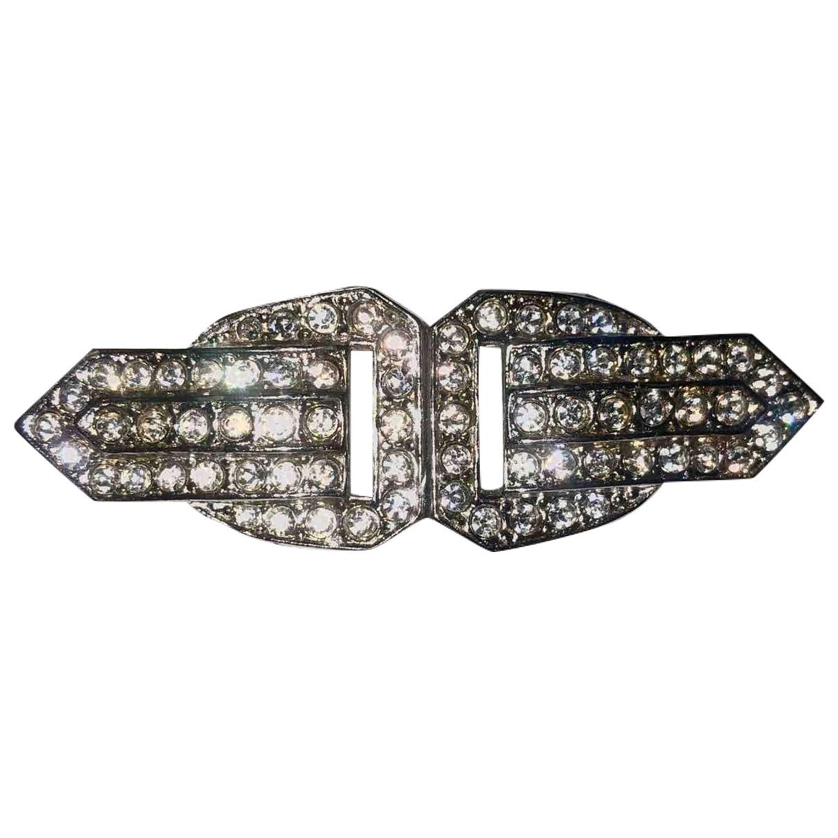 Broche Art Deco en Metal Plateado Non Signe / Unsigned