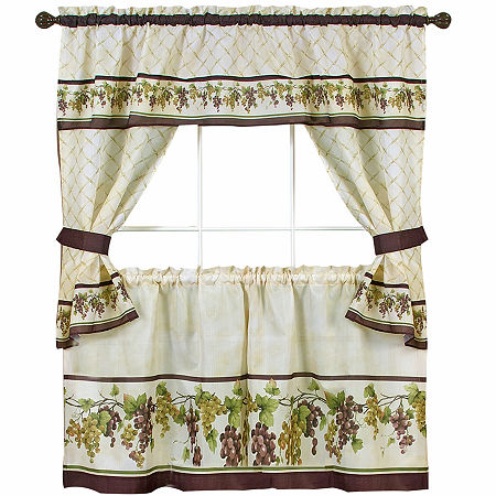 Tuscany Cottage 3 -pc Rod -Pocket Window Tiers & Tailored Topper Set, One Size , Multiple Colors