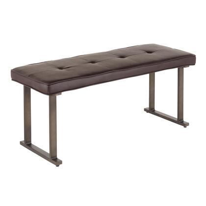 Roman Collection BC-ROMANANE Bench with Faux Leather Upholstery  Industrial Style and Angular Metal Frame in Espresso