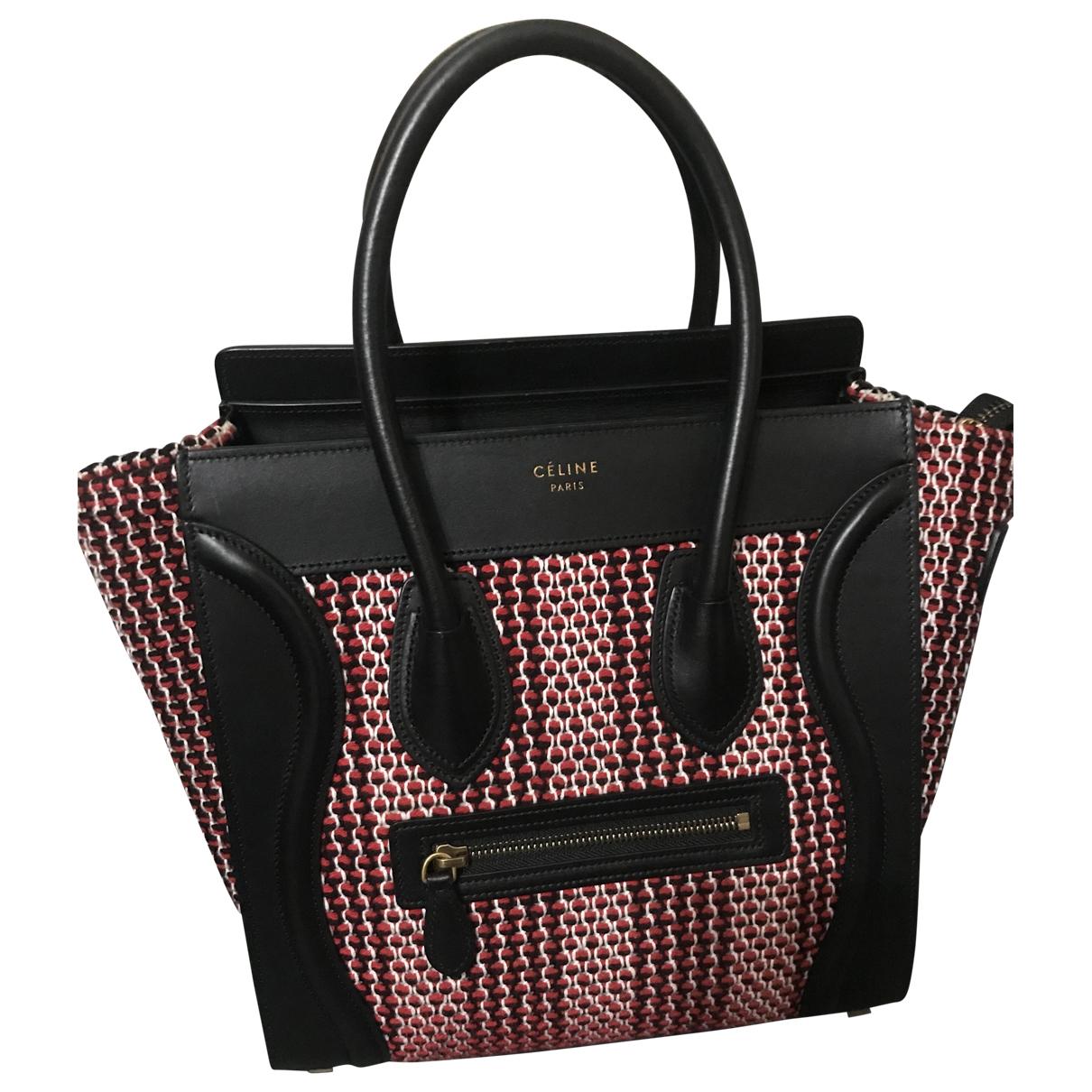 Celine - Sac a main Luggage pour femme en laine - rouge
