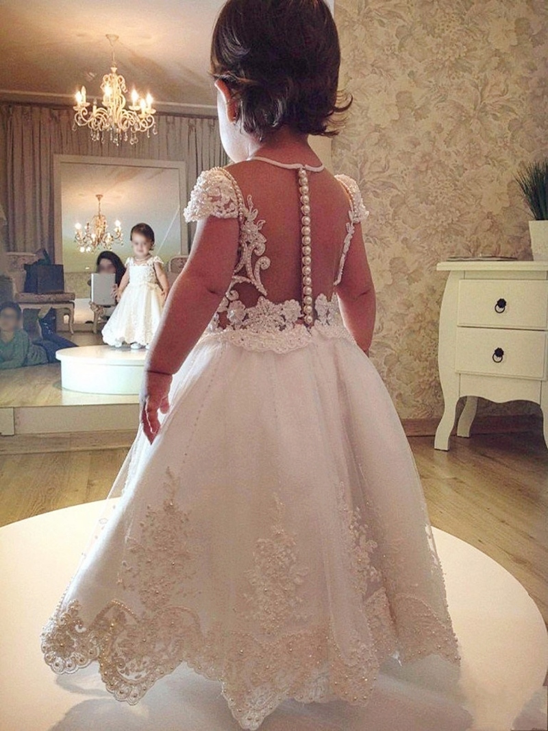 Ericdress Cap Sleeves Appliques Peals Flower Girl Dress