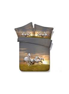 Galloping White Horses Printed Cotton 4-Piece 3D Bedding Sets/Duvet Covers