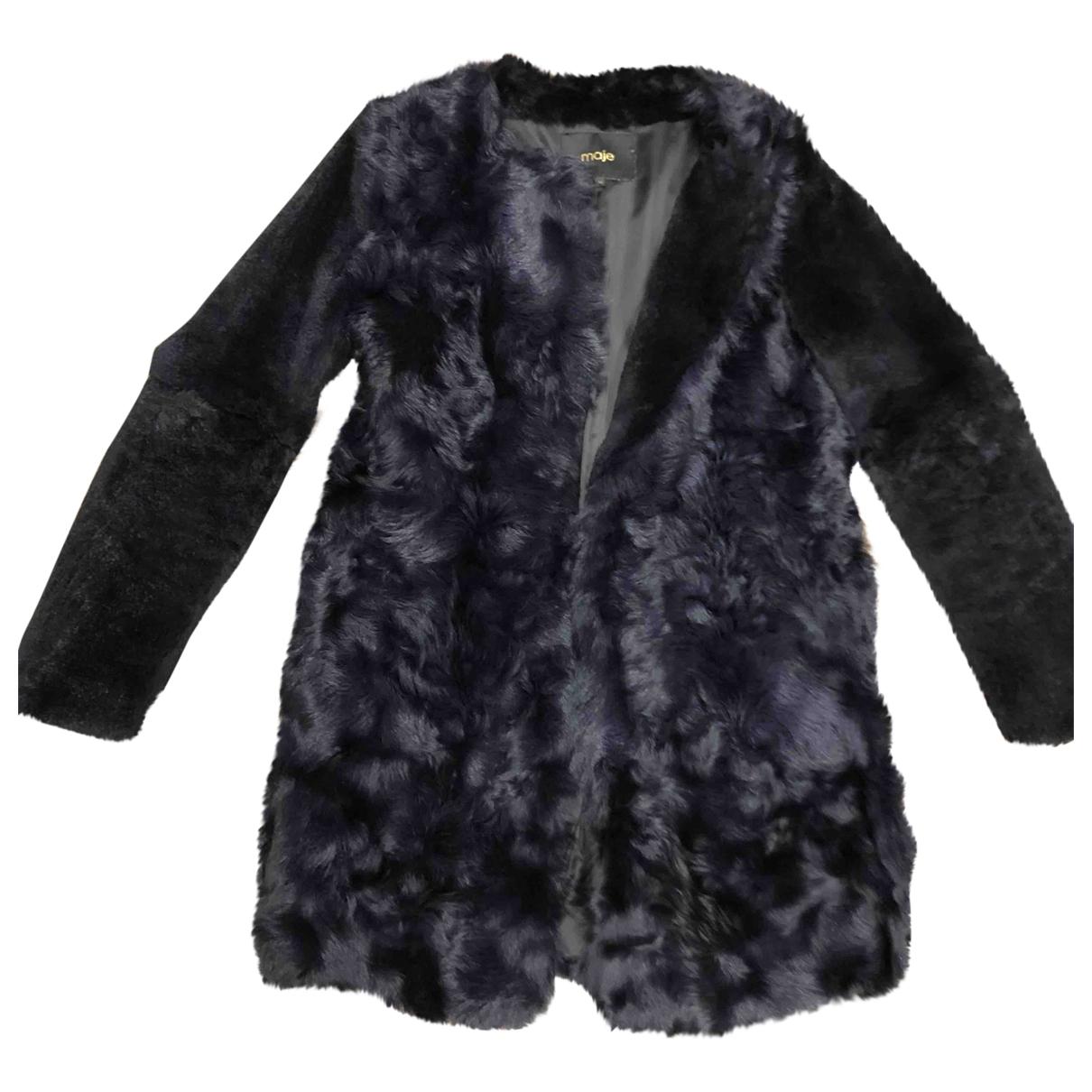 Maje - Manteau   pour femme en fourrure synthetique - bleu