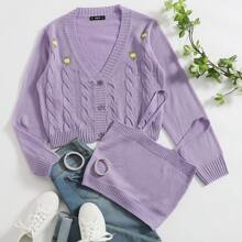 Buttoned Front Cable Knit Cardigan With Knit Top