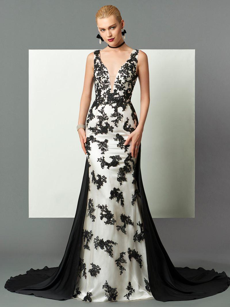 Ericdress Gorgeous Sheath Lace Applique Straps Court Train Long Evening Dress