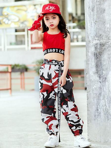 Milanoo Kids Jazz Dance Costume Girls Red Printed Long Pants And Crop Top 2 Piece Set