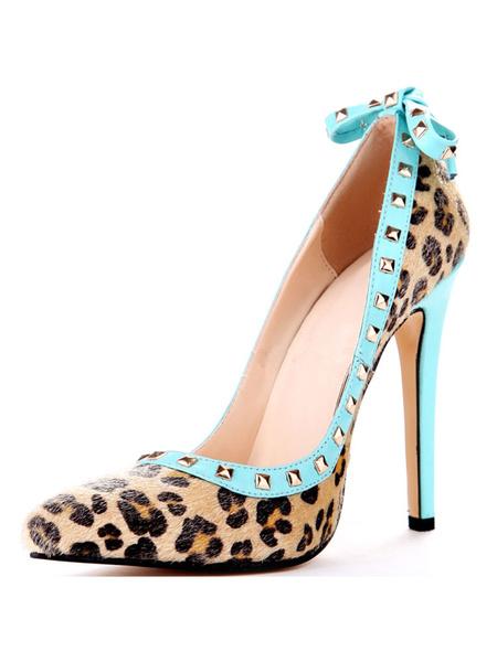 Milanoo Woman's High Heels Leopard Print Stiletto Heel Rivets Plus Size Pumps Shoes
