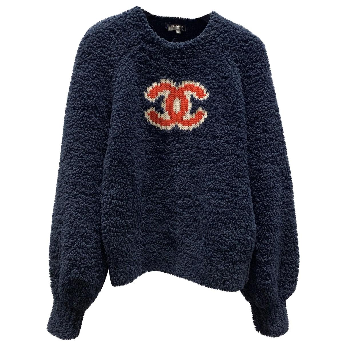 Chanel - Pull   pour femme en laine - marine