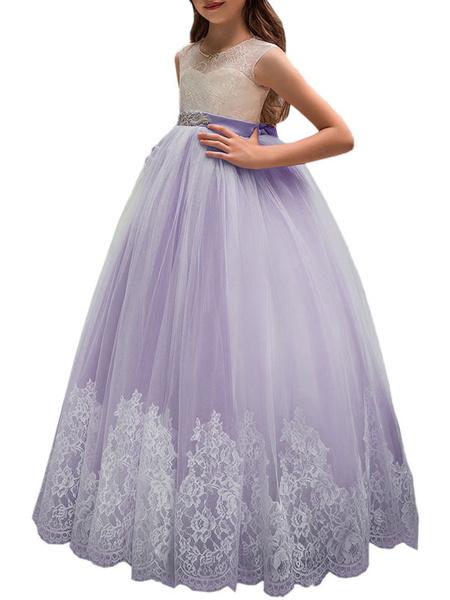 Milanoo Vestidos de niña de las flores Cuello joya Sin mangas Faja Vestidos formales para niños