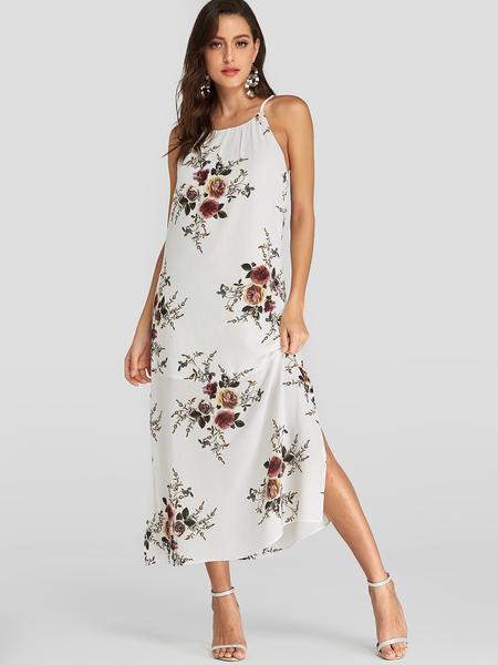 YOINS White Random Floral Print Halter Slit Design Sleeveless Dress