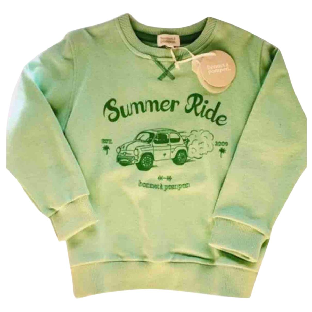 Bonnet A Pompon - Pull   pour enfant en coton - vert