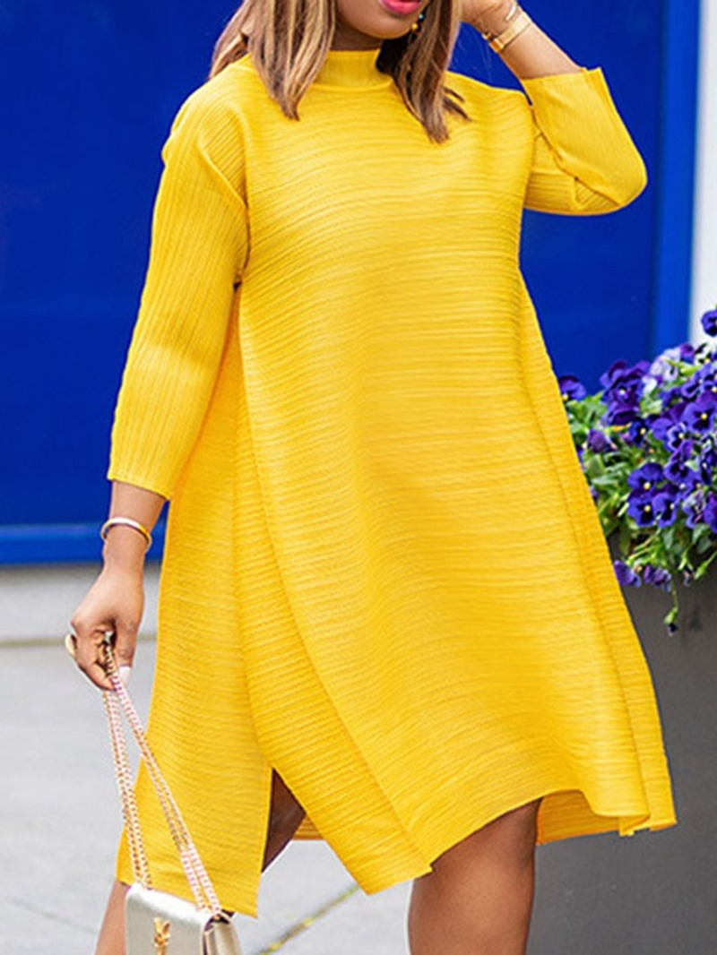 Ericdress Split Stand Collar Nine Points Sleeve Plain Spring Dress