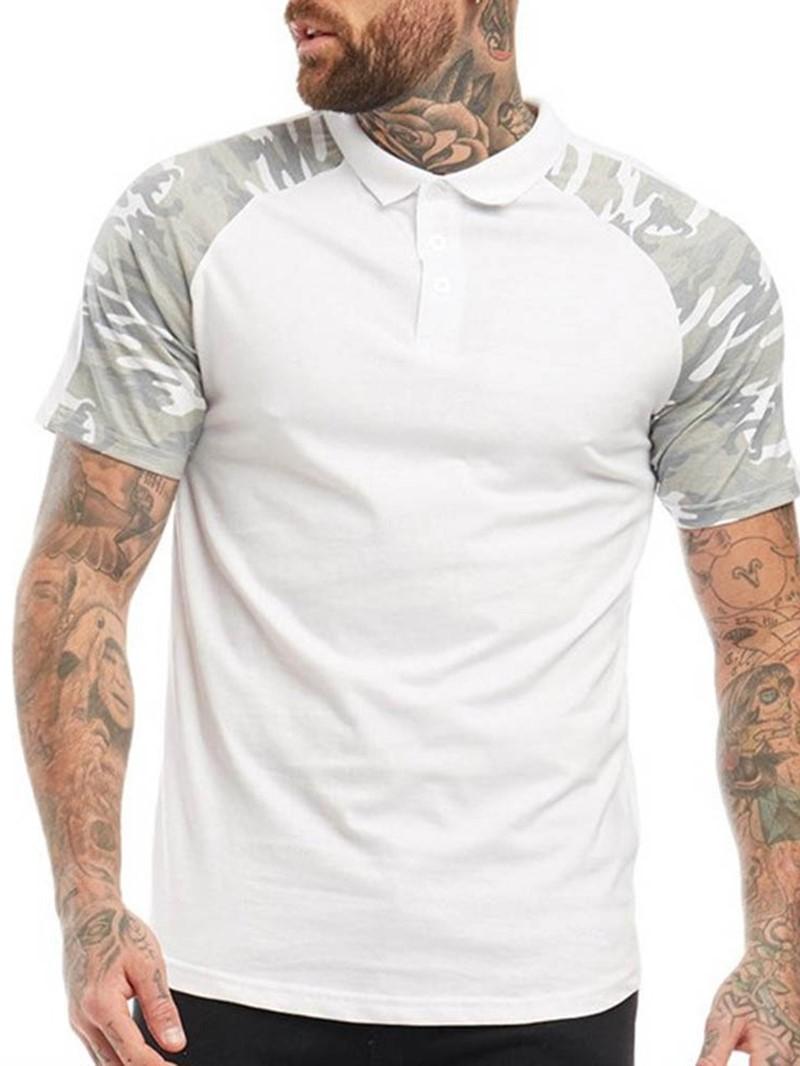 Ericdress Lapel Camouflage Print Polo Mens Shirt