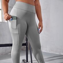 Sports Leggings mit breitem Taillenband und Handytasche