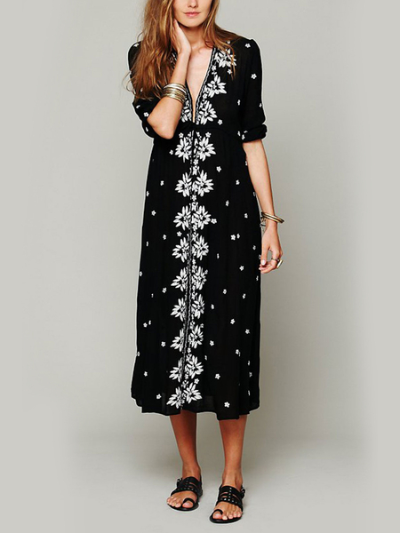 Yoins Floral Embroidered Maxi Dress in Black