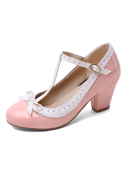 Milanoo Sweet Lolita Footwear Bow T Strap PU Leather Puppy Heel Lolita Pumps