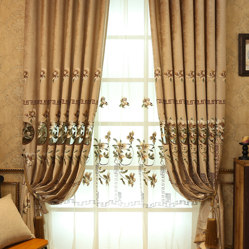 Noble and Cozy Yellow Thick Polyester 2 Panels Living Room and Bedroom Sheer Curtain