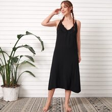Guipure Lace Panel Plunging Slip Night Dress