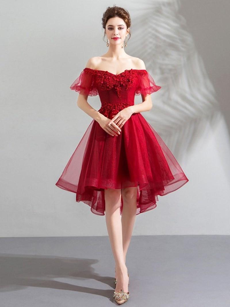 Ericdress A-Line Asymmetry Short Sleeves Beading Homecoming Dress