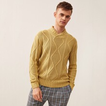 Guys Solid Geo Pattern Sweater