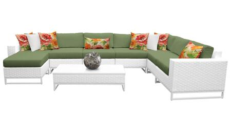 Miami MIAMI-09b-CILANTRO 9-Piece Wicker Patio Furniture Set 09b with Corner Chair  4 Armless Chairs  Ottoman  Coffee Table  Left Arm Chair and Right