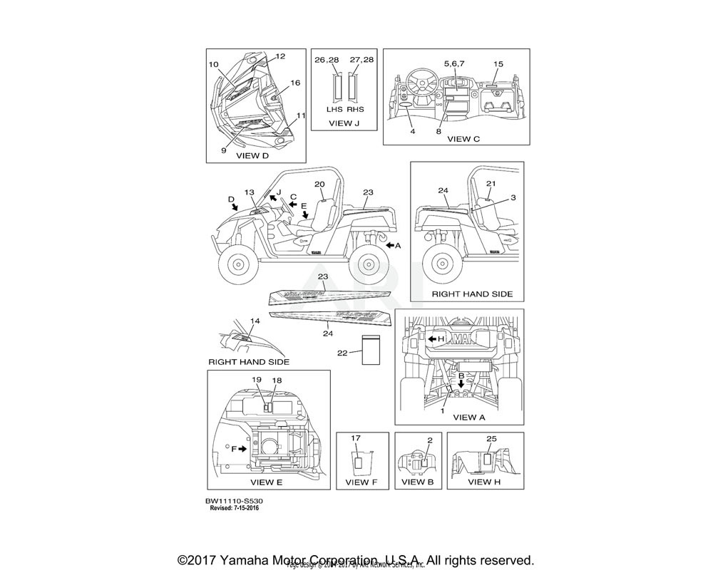 Yamaha OEM 2MB-F1784-20-00 EMBLEM 4 | UR FOR BWS1