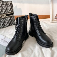 Zip Side Lace-up Combat Boots