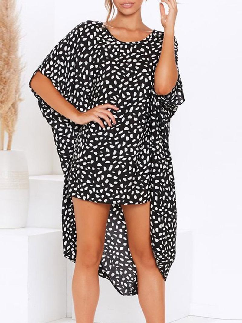 Ericdress Casual Mid-Calf Round Neck Leopard Asymmetrical Dress