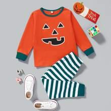 Toddler Girls Halloween Print Tee & Striped Pants