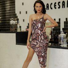 Yilibasha One Shoulder Asymmetrical Hem All Over Print Dress
