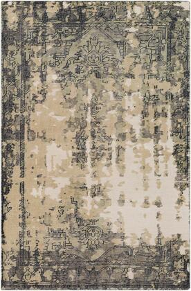 Hoboken HOO-1017 6' x 9' Rectangle Traditional Rug in Navy  Medium Gray  Tan  Sage
