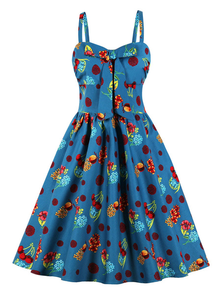 Milanoo Retro Dress 1950s Deep Blue Knotted Print Bows Sleeveless Straps Neck Swing Dress