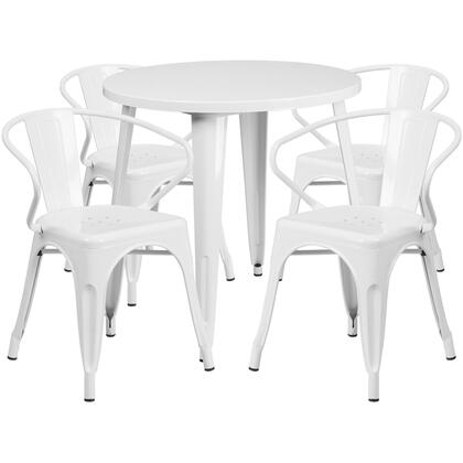 CH51090TH Collection CH-51090TH-4-18ARM-WH-GG Indoor-Outdoor Table Set with 4 Stackable Chairs  Metal Cafe Table  Protective Rubber Floor Glides
