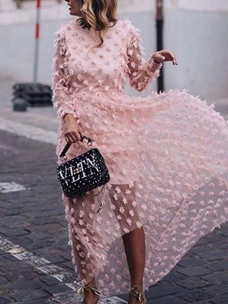 Milanoo Vestidos largos rosados Vestido largo hasta el suelo irregular de manga larga con cuello joya para mujer