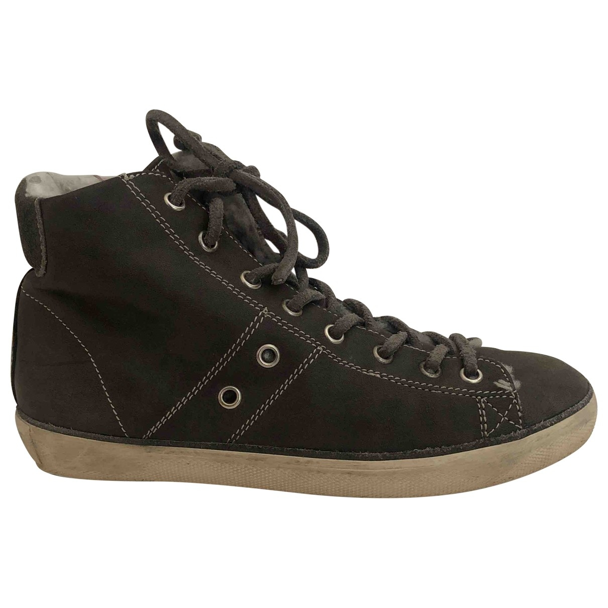 Leather Crown \N Sneakers in  Khaki Leder