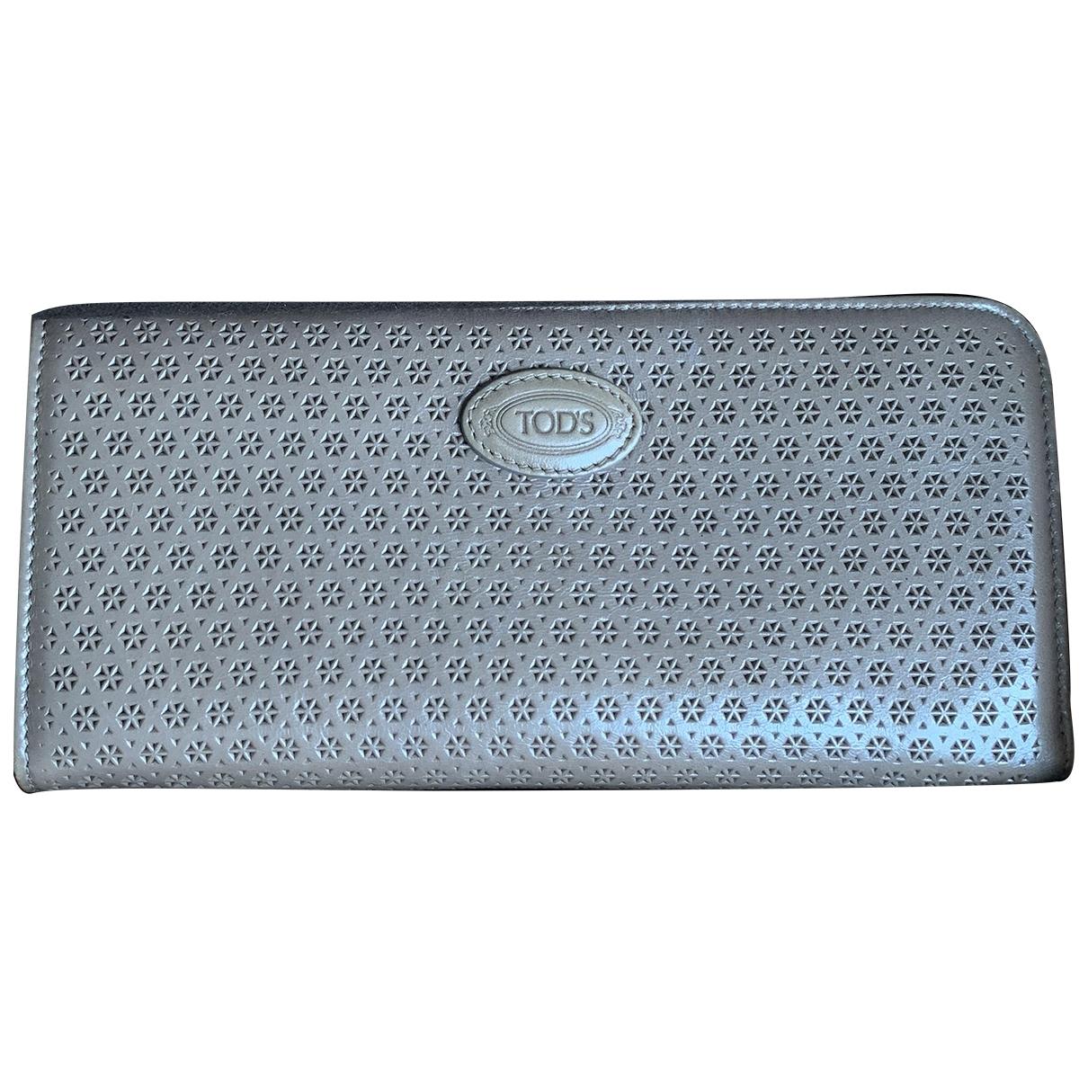 Tods - Portefeuille   pour femme en cuir verni - gris