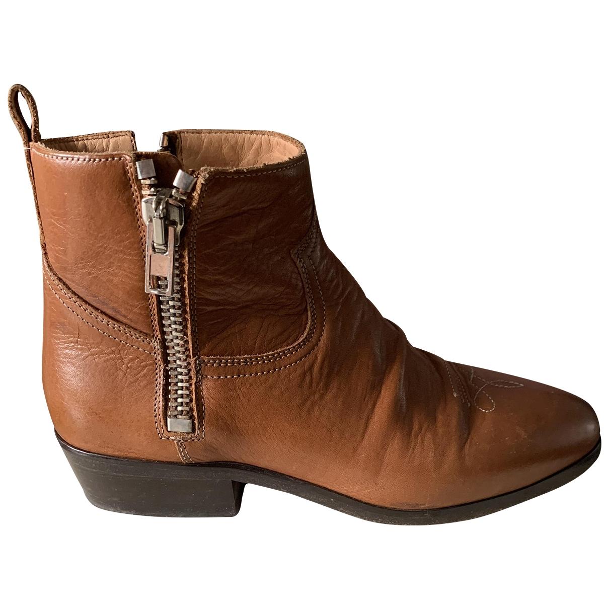Golden Goose - Boots   pour femme en cuir - camel