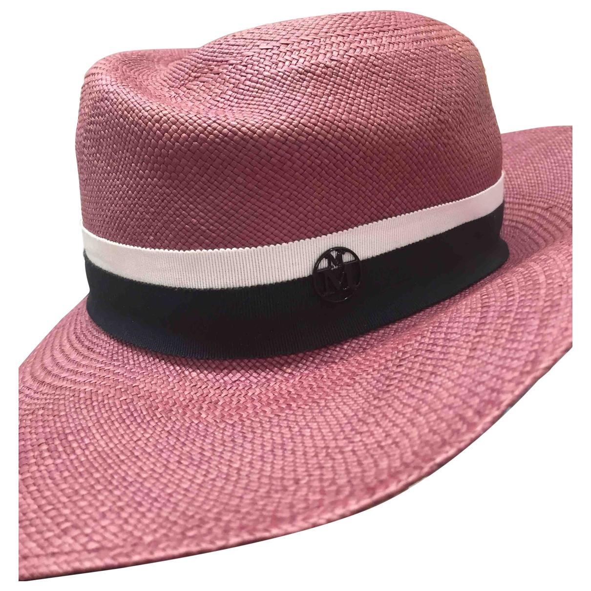 Maison Michel - Chapeau   pour femme en lin - rose