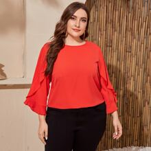 Plus Ruffle Detail Sleeve Solid Top