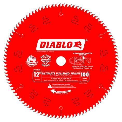 Diablo 12 in x 100 Tooth Ultimate Polished Finish Saw Blade