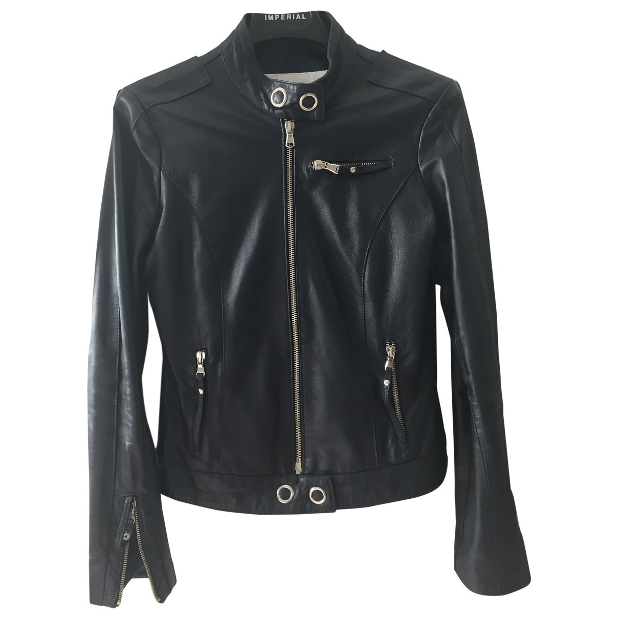 Impérial \N Blue Leather Leather jacket for Women 38 IT