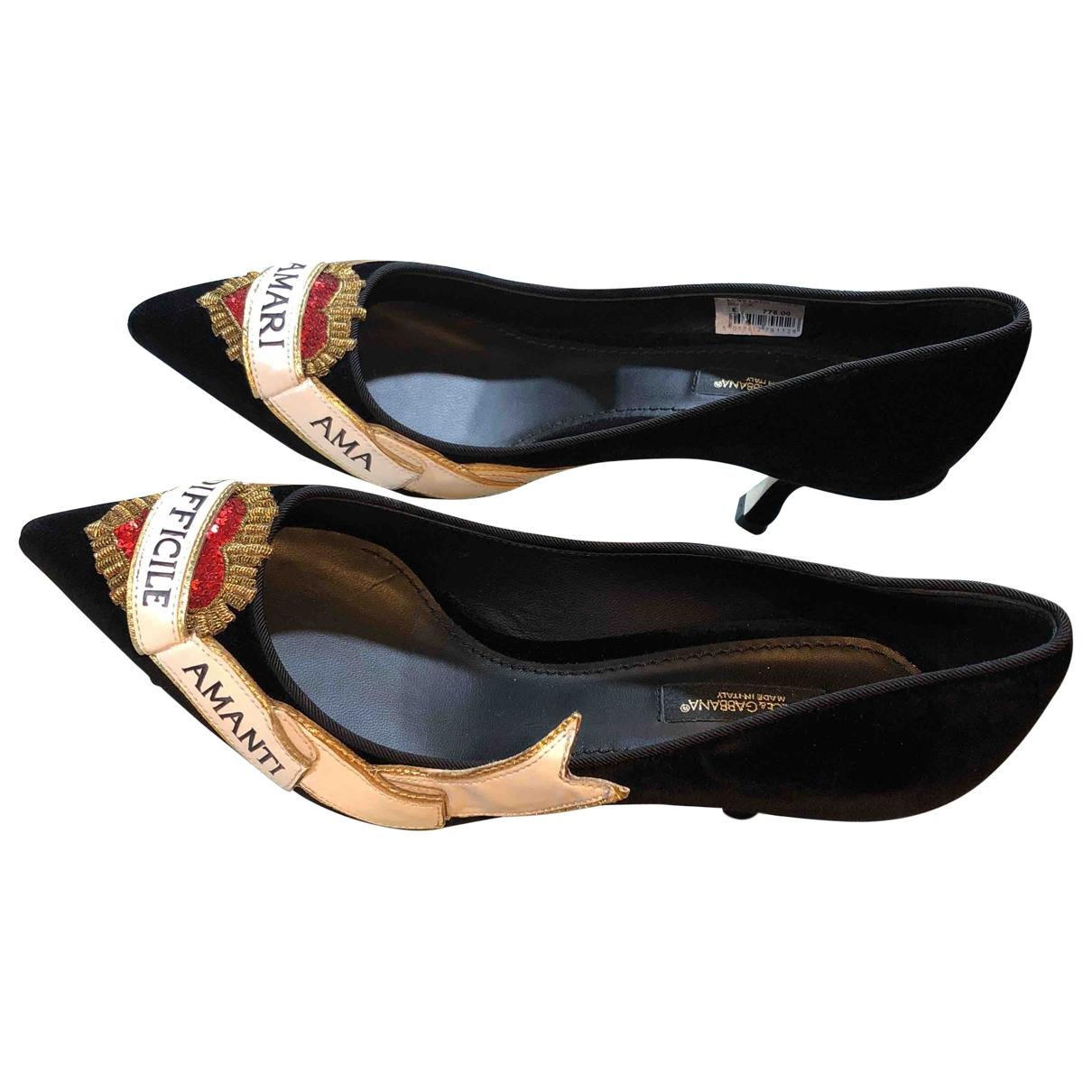 Dolce & Gabbana \N Black Velvet Heels for Women 4.5 UK