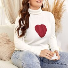 Plus High Neck Heart Pattern Sweater