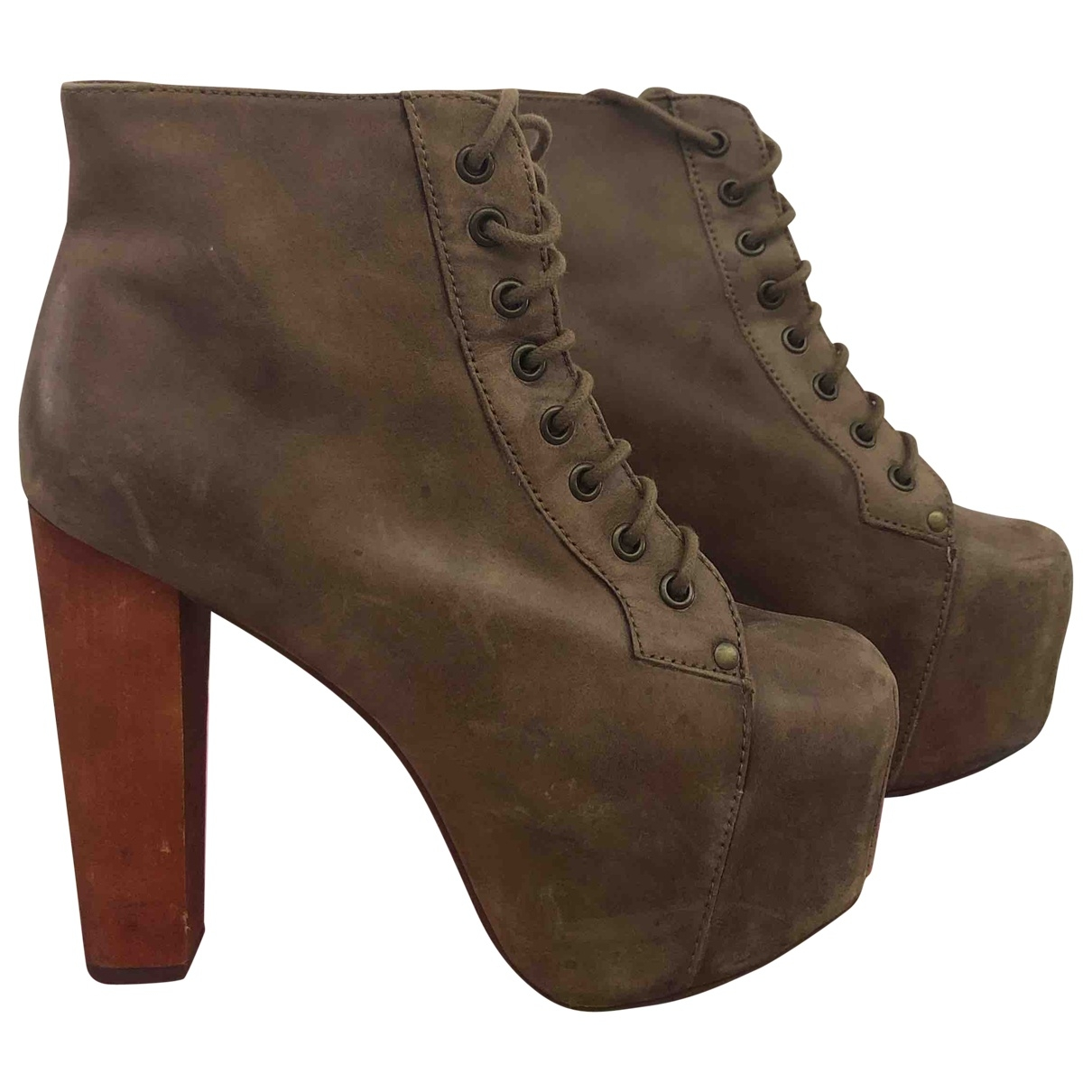 Jeffrey Campbell \N Brown Leather Heels for Women 39 EU