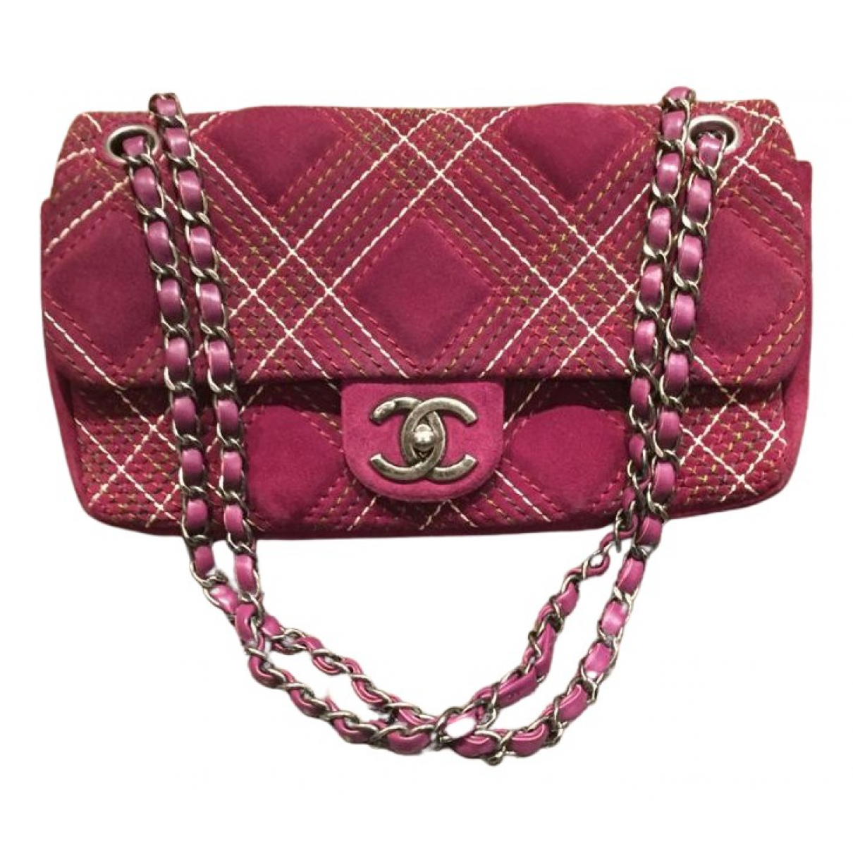 Chanel Timeless/Classique Handtasche in  Bordeauxrot Veloursleder