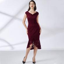 Einfarbiges Kleid mit Meerjungfrau Saum und Spitzen