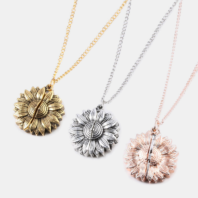 Vintage Special Sunflower Double Lettering Necklace You Are My Sunshine Open Pendant Necklace