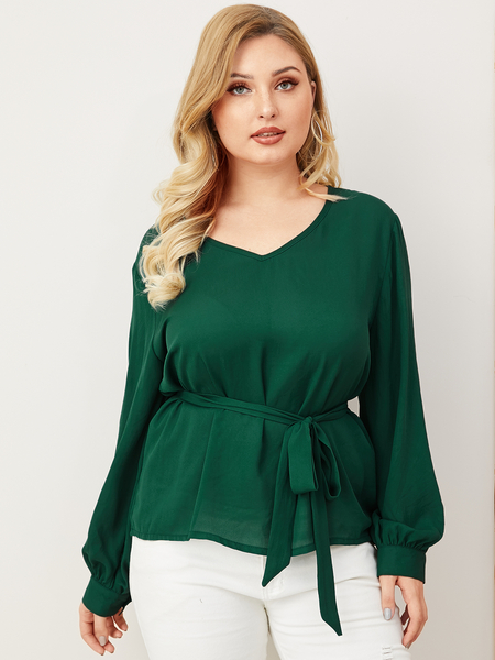 Yoins Plus Size Green Belt Design V-neck Long Sleeves Blouse