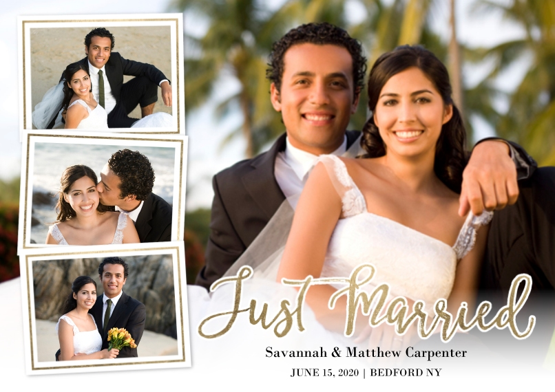 Just Married 5x7 Cards, Premium Cardstock 120lb with Scalloped Corners, Card & Stationery -Just Married Snapshots