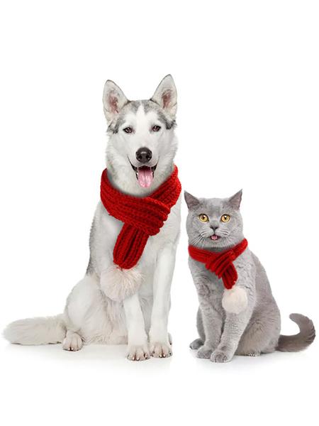 Milanoo Disfraz de mascota Navidad bufanda roja Poliester Pet Supply